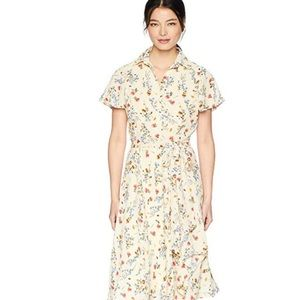 Short sleeve georgette shirt dress with floral